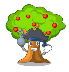 Pirate apple orchard with basket of cartoon vector