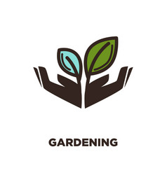 plant growing from open hands logo design two vector image