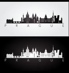 prague skyline and landmarks silhouette vector image