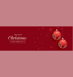 red christmas balls decoration banner design vector image