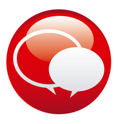 Red round chat bubbles emblem icon vector