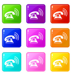 Retro phone set 9 vector