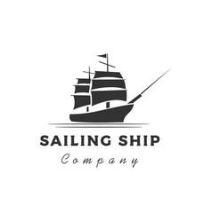 retro vintage sailing ship silhouette logo design vector image