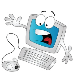 scared computer vector image vector image