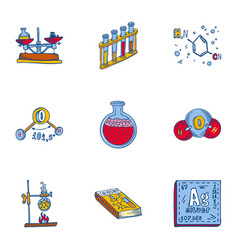 school chemistry icon set hand drawn style vector image