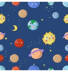 Seamless pattern cartoon planets vector image