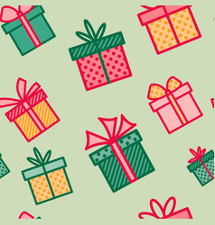 seamless pattern with christmas gifts colorful vector image