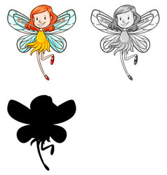 set fairy character vector image