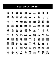 set household icon with glyph style design vector image