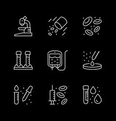 Set line icons hematology vector