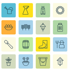 Set of 16 plant icons includes flowerpot vector