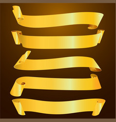set of horizontal blank gold ribbon banner vector image
