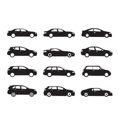 Set of modern shapes and icons of cars vector