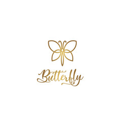 Simple outline butterfly logo vector