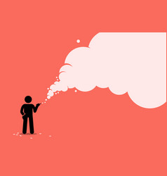 stick figure smoker smoking cigarette with a lot vector image
