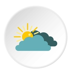Sun behind clouds icon flat style vector
