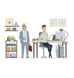 Supervising staff - modern cartoon business vector