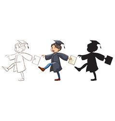 Three sketches of a boy graduating vector image