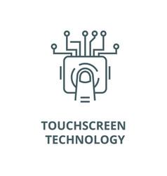 Touchscreen technology line icon linear vector