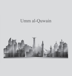 umm al-quwain city skyline silhouette in grayscale vector image