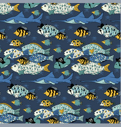 Underwater sea life seamless pattern vector