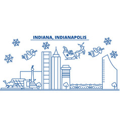Usa indiana indianapolis winter city skyline vector