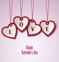 Valentine card with hanging hearts template vector