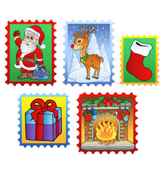 various christmas post stamps 2 vector image
