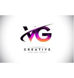 Vg v g grunge letter logo with purple vibrant vector