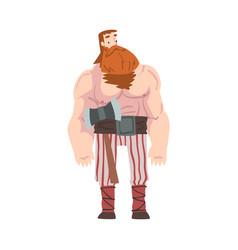 Viking warrior red bearded scandinavian mythology vector