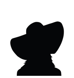 woman silhouette with hat in black vector image