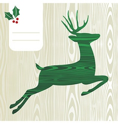 Wooden Christmas deer silhouette vector