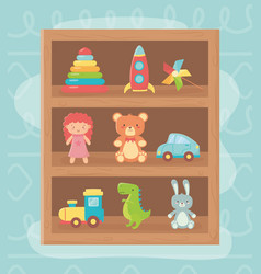 Wooden shelf rocket bear doll rabbit car train vector