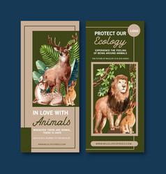 Zoo flyer design with rabbit deer lion watercolor vector