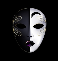 black-white mask with purple vector image