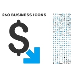 Dollar decrease icon with flat set vector