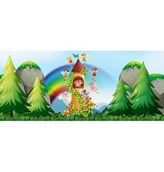 Fairies and castle vector image vector image