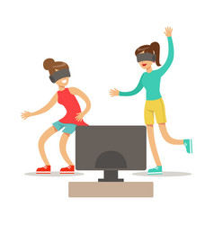 Girlfriends in virtual reality glassespart of vector