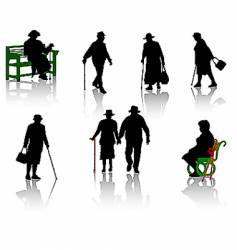 old people silhouette vector image vector image