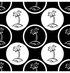 Seamless pattern islands with palm silhouettes vector image vector image