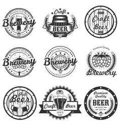 Set of vintage craft beer labels badges vector