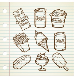 snack doodle collection vector image
