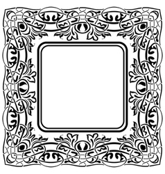 Black frame with ornamental border on white backgr vector image