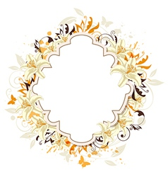 Decorative background with white lily vector image