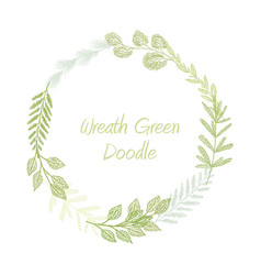Green hand drawn leaves and grass wreath vector
