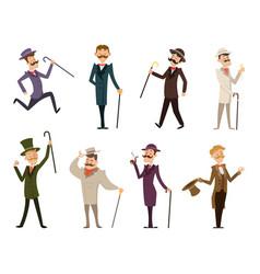 set of english victorian gentlemen characters in vector image