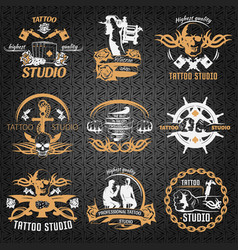 tattoo vintage style labels vector image vector image