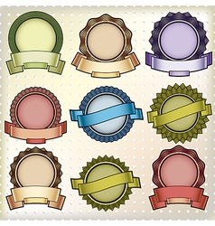 Vintage labels with blank banners vector image