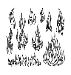 flame fire set sketch vector image vector image