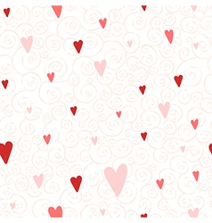 seamless pattern with hearts and swirls vector image
